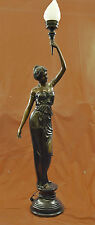 "Signed ""Moreau"" gorgeous bronze statue lamp, glass, absolutely stunning!!"
