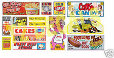 HO Scale Circus Sideshow Carnival Food & Beverage Signage Decals #1