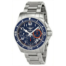 Longines Hydro Conquest Blue and Orange Dial Blue Bezel Stainless Steel Mens