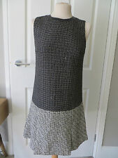 DIANE VON FURSTENBERG Black & White Tweed Leather Collar Dress - UK 6-8