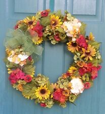 "FALL AUTUMN 24"" WREATH Handmade  Hydrangeas Sunflowers Mini Poppies"
