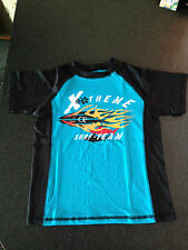 BNWOT Boys Sz 10/12 Black/Aqua UPF 50+ Short Sleeve Swimming Rash Vest