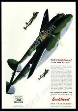 1943 P-38 Lightning USAF US Army AAF 3 plane art Lockheed vintage print ad