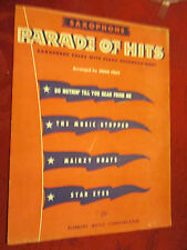 Saxophone Parade Of Hits by Robbins Music 1943 Sax solos with Piano Accomp.
