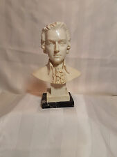 Bust Of Mozart Sculpture by A. Santini  with Marble Base Signed