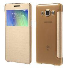 Schutz Tasche Hülle Flip Cover Case Etui f Samsung Galaxy A5 View Slim Gold 71D