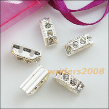 12 New Connectors Rhinestone 2 Hole Spacer Bars Silver Plated 4.5x11.5mm