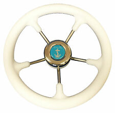 BOAT STEERING WHEEL MARINE STAINLESS STEEL + SOFT GRIP rib speedboat cruiser
