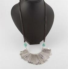 Lucky Brand Turquoise & Leather Paddle Necklace