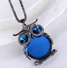 Women Gold Owl Rhinestone Crystal Pendant Necklace Long Sweater Chain Jewelry &!