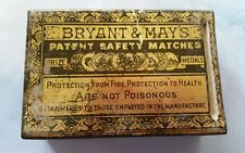 Antique Bryant & Mays Tin Safety  Match Box Holder Case With Original Box READ!