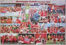 """MANCHESTER UNITED FC """"CHAMPIONSHIP 2013 COLLAGE"""" POSTER - Soccer / Football"""