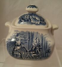 Staffordshire Ironstone Liberty Blue Sugar Bowl and Lid - Betsy Ross - Wonderful
