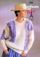 Lady Sweater Size 81-102cm 32-40in Sunbeam 930 Vintage Retro Knitting Pattern