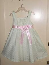 NWOT BONNIE JEAN LIGHT MINT GREEN EYELET DRESSY DRESS PINK SASH AND BOW  5