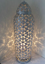 Chrome Floor Lamp Stunning Moroccan Style Jeweled Cut work Flower ' New'