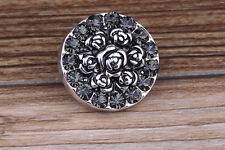 Gray Rhinestone Drill flower Charm Chunk Snap Button fit for Noosa Bracelet EE90