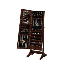 Large Jewelry Stand Armoire Mirror Cabinet Storage Cherry Cheval Case Box Lock