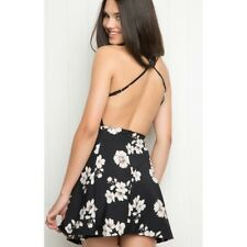 Rare! brandy melville Black Floral Criss Cross low back Flare Kristen dress NWT