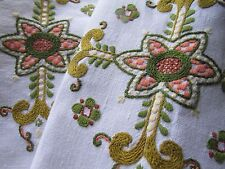 Vintage Hand Embroidered Tablecloth,BEAUTIFUL CREWEL WORK WITH LOT'S OF DETAIL