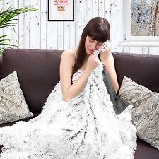 Kuscheldecke Wohndecke Hundedecke Couch Bank Bett Sofa Garten Picknick grau/weiß