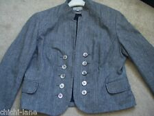 LADIES GREY MILLITARY STYLE SMART JACKET SIZE 18 SHORT M & S  (R9730)