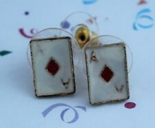 "NOVELTY LADIES/GIRLS/MENS""ACE OF DIAMONDS""GOLD STUD  EARRINGS!""FREE POST IN OZ"""