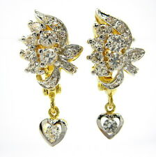 STUNNING THAI CZ LEVERBACK WOMEN EARRINGS 22K Yellow & 18K White Gold GP Jewelry
