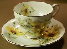 Vintage Royal Standard Footed Tea Cup & Saucer Set  Brown Eyed Susan