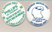 """Pair of 1996 U.S. Taxpayers Party 3"""" Phillips for president campaign buttons"""