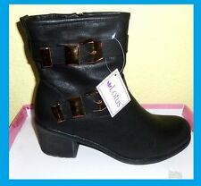 LOTUS BLACK  SYNTHETIC LEATHER  DOUBLE BUCKLE ANKLE BOOTS SIZE 6.5