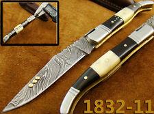 Damast-Taschenmesser Damast Messer Knochen Taschenmesser Folding Knife 1832-11