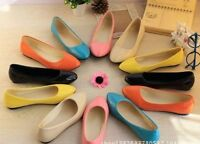 Women's Summer Ballet Flat Casual Patent Leather Shoes Pumps Candy Color Shoes