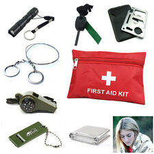 Survival Emergency Whistle Blanket Fire Flint Wire Saw Knife Torch First Aid Kit