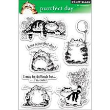 New Penny Black RUBBER STAMP clear Acrylic PURRFECT DAY cats set free usa ship