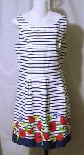 CHAPS Floral Fit & Flare Box Pleated Striped Dress size 16 White Blue Red  NWT