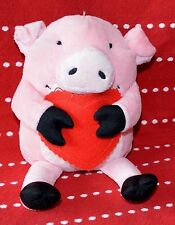 "Holiday PINK PIG GIFT CARD Holder 6"" Plush RED HEART Love Hallmark Val PAL"