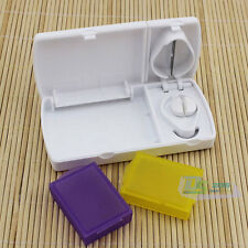 Plastic Pill Cutter Splitter Storage Compartment Box Medicine Tablet Holder New