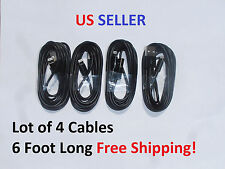 LOT OF 4 - Long 6 Foot BLACK 8 Pin USB Charger Cable Cords for Apple iPhone 5 6