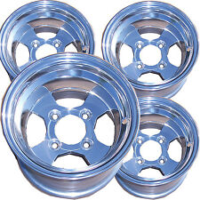 "4) 10"" 10x7 4/4 3+4 GOLF CART RIM for EZGO Club Car Yamaha Polished ALUMINUM"