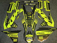 KTM SX/SXF 125-450 2013-2015 Neon flo yellow graphics + black plastic kit GR1302