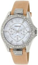 Fossil Women's Riley ES3889 Beige Leather Quartz Watch