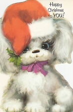 Merry Christmas Vintage Retro Kitsch 1970's Happy Poodle Dog Greeting Card