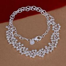 Fashion  Women Jewelry 925 Sterling Silver Grapes Beads Pendant Necklace + Chain