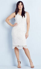 Crossroads WHITE LACE gold zip LINED elegant romantic Party DRESS size 20 NEW