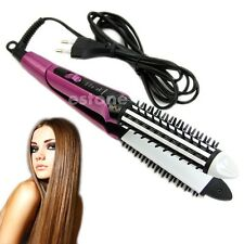 Hot Sale  2 in 1 Hair Straightener Flat Iron Curling Curler Brush