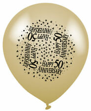 Happy 50th Wedding Anniversary Gold Balloons Suitable for Air or Helium Pack 8
