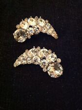 Vintage Bogoff Numbered 148278 Silver Tone Rhinestone Crescent Clip Earrings