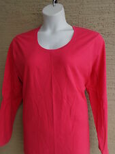 New Just  My Size L/S Crew Neck Cotton Jersey Tee Top 3X Hot Pink