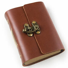 Ancicraft Mini Leather Journal Notebook with Lock A7 Blank Paper Red Brown Gift